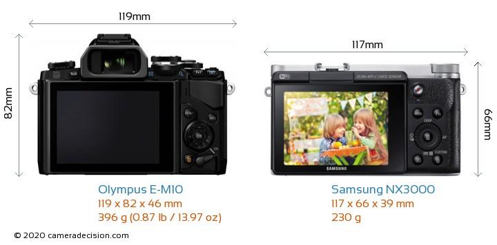 Olympus E-M10 vs Samsung NX3000 Camera Size Comparison - Back View