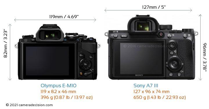 Olympus E-M10 vs Sony A7 III Camera Size Comparison - Back View