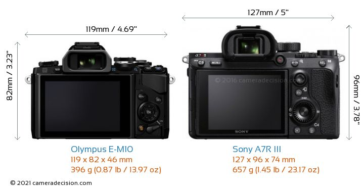 Olympus E-M10 vs Sony A7R III Camera Size Comparison - Back View
