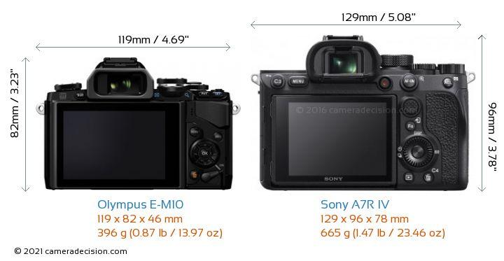 Olympus E-M10 vs Sony A7R IV Camera Size Comparison - Back View