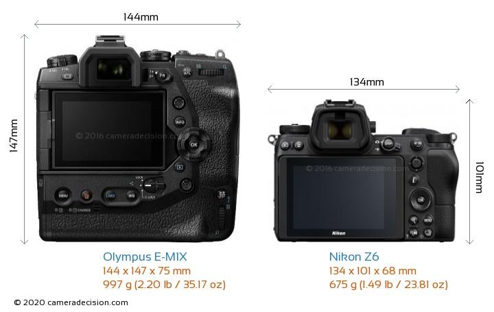 Olympus E-M1X vs Nikon Z6 Camera Size Comparison - Back View