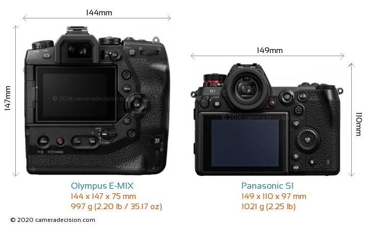 Olympus E-M1X vs Panasonic S1 Camera Size Comparison - Back View