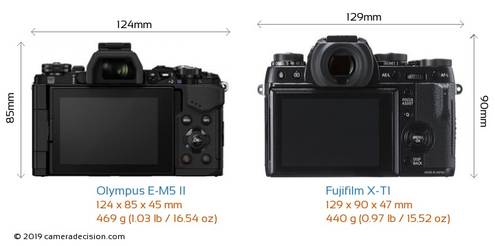 Olympus E-M5 II vs Fujifilm X-T1 Camera Size Comparison - Back View