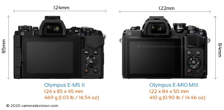 Olympus E-M5 II vs Olympus E-M10 MIII Camera Size Comparison - Back View