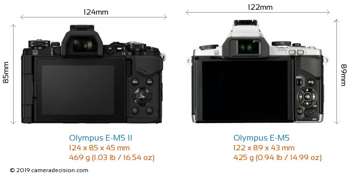 Olympus E-M5 II vs Olympus E-M5 Camera Size Comparison - Back View