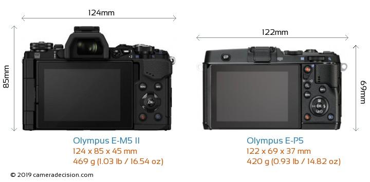 Olympus E-M5 II vs Olympus E-P5 Camera Size Comparison - Back View