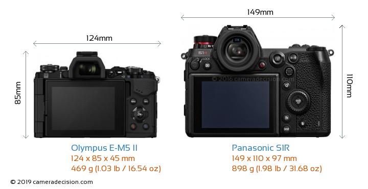 Olympus E-M5 II vs Panasonic S1R Camera Size Comparison - Back View