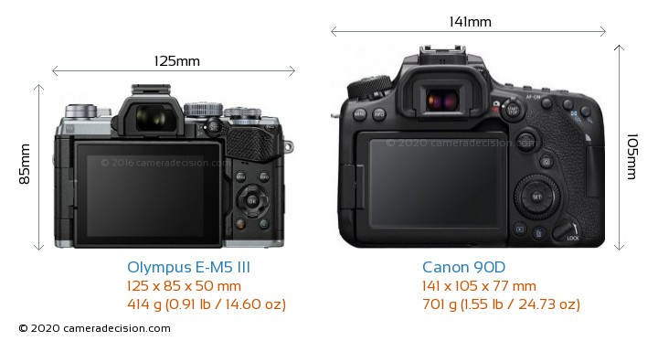 Olympus E-M5 III vs Canon 90D Camera Size Comparison - Back View