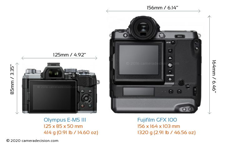 Olympus E-M5 III vs Fujifilm GFX 100 Camera Size Comparison - Back View