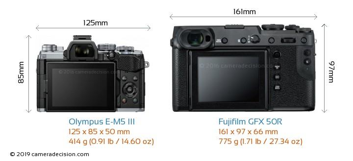Olympus E-M5 III vs Fujifilm GFX 50R Camera Size Comparison - Back View