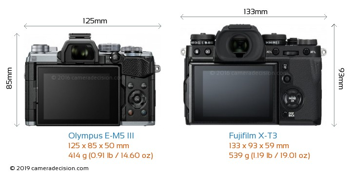 Olympus E-M5 III vs Fujifilm X-T3 Camera Size Comparison - Back View