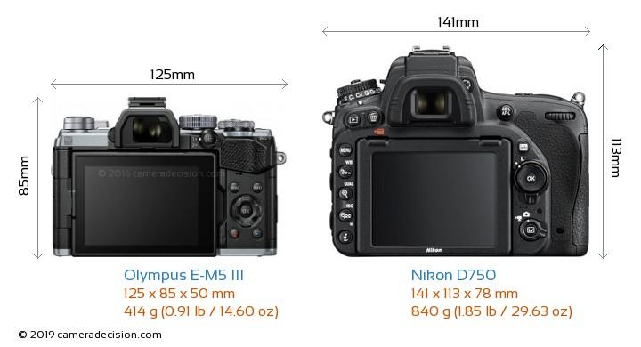 Olympus E-M5 III vs Nikon D750 Camera Size Comparison - Back View