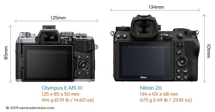 Olympus E-M5 III vs Nikon Z6 Camera Size Comparison - Back View