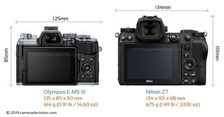 Olympus E-M5 III vs Nikon Z7 Camera Size Comparison - Back View