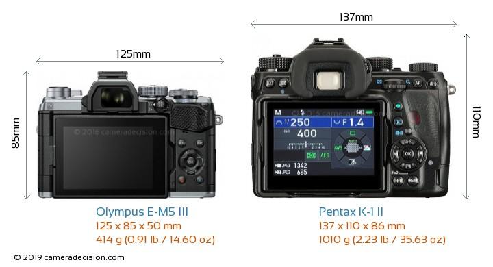 Olympus E-M5 III vs Pentax K-1 II Camera Size Comparison - Back View