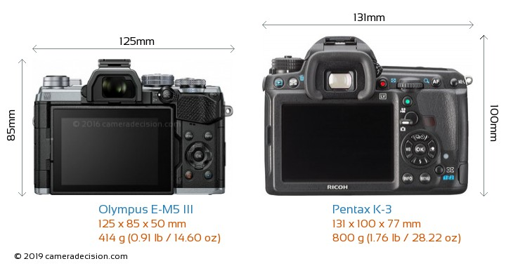 Olympus E-M5 III vs Pentax K-3 Camera Size Comparison - Back View