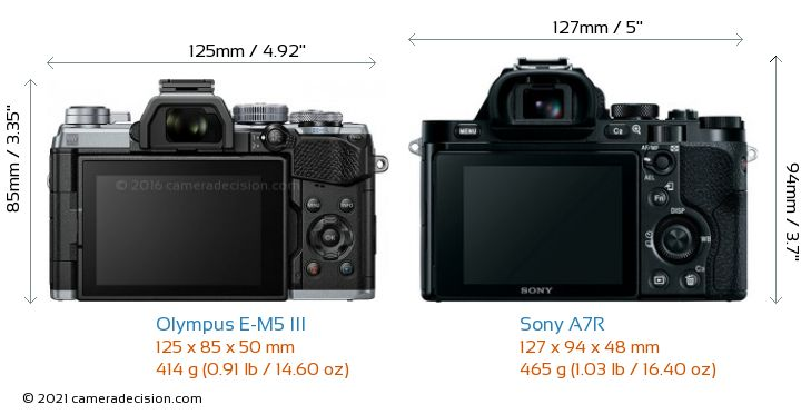 Olympus E-M5 III vs Sony A7R Camera Size Comparison - Back View