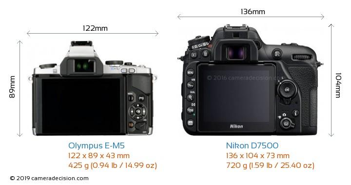 Olympus E-M5 vs Nikon D7500 Camera Size Comparison - Back View