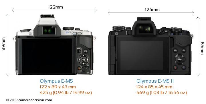 Olympus E-M5 vs Olympus E-M5 II Camera Size Comparison - Back View