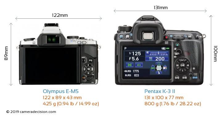 Olympus E-M5 vs Pentax K-3 II Camera Size Comparison - Back View