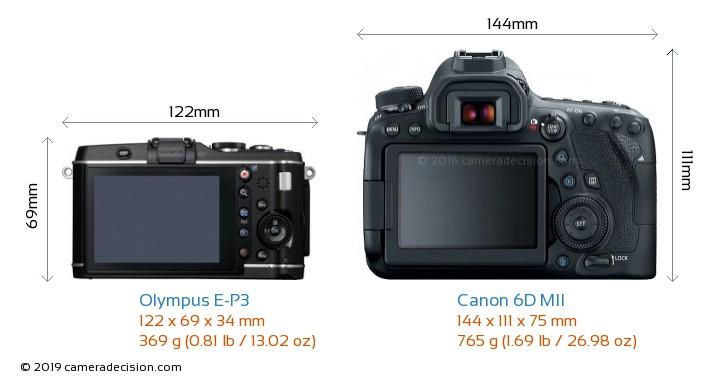Olympus E-P3 vs Canon 6D MII Camera Size Comparison - Back View