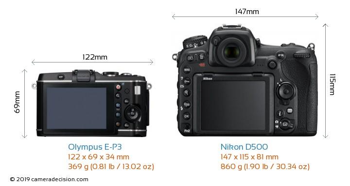 Olympus E-P3 vs Nikon D500 Camera Size Comparison - Back View