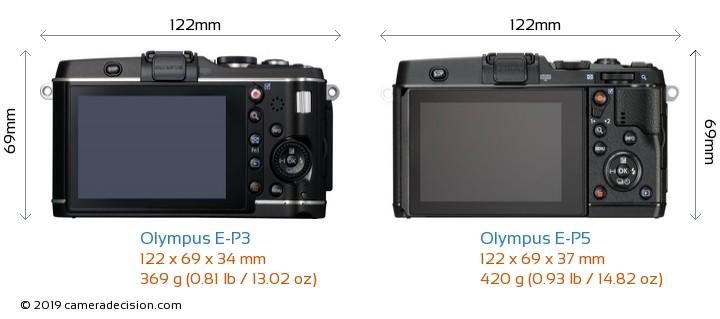 Olympus E-P3 vs Olympus E-P5 Camera Size Comparison - Back View