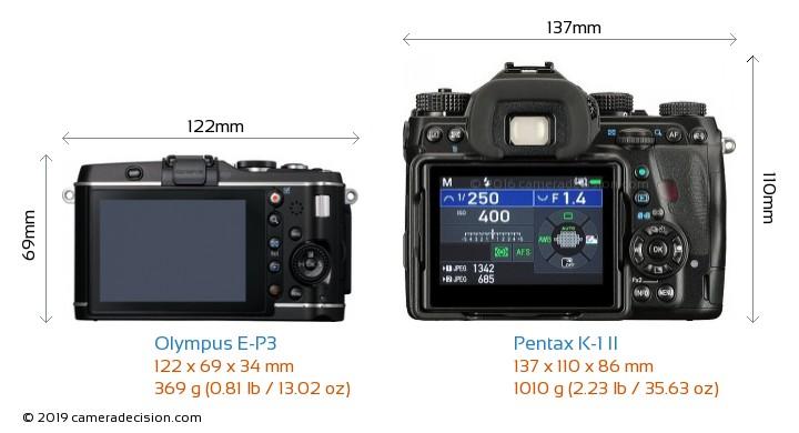 Olympus E-P3 vs Pentax K-1 II Camera Size Comparison - Back View