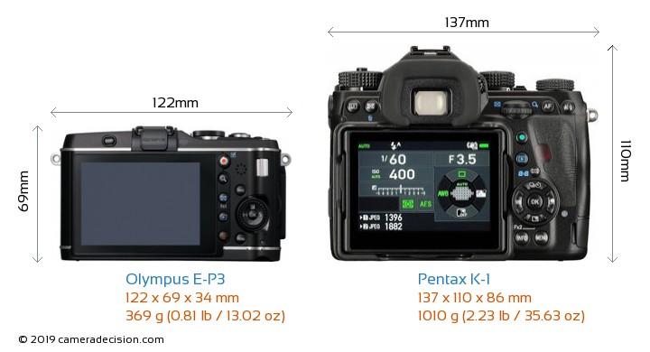 Olympus E-P3 vs Pentax K-1 Camera Size Comparison - Back View