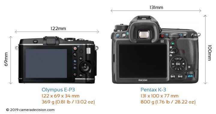 Olympus E-P3 vs Pentax K-3 Camera Size Comparison - Back View