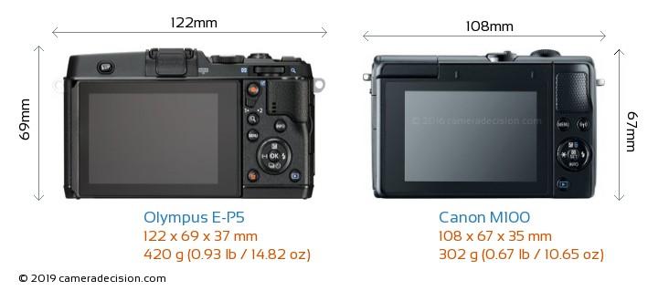 Olympus E-P5 vs Canon M100 Camera Size Comparison - Back View
