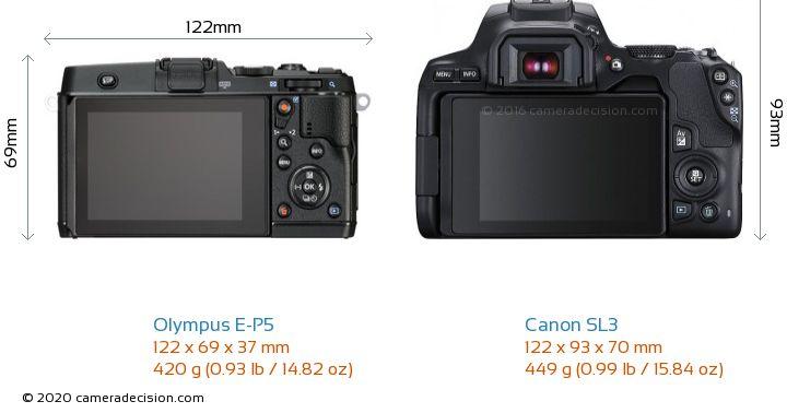 Olympus E-P5 vs Canon SL3 Camera Size Comparison - Back View