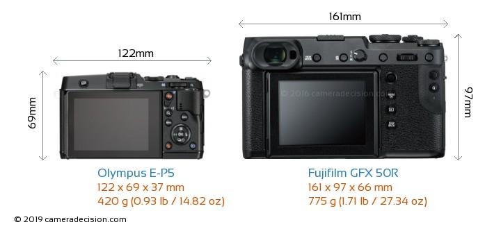 Olympus E-P5 vs Fujifilm GFX 50R Camera Size Comparison - Back View