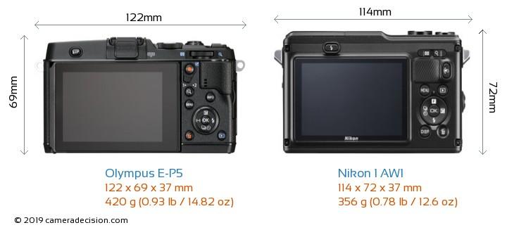 Olympus E-P5 vs Nikon 1 AW1 Camera Size Comparison - Back View
