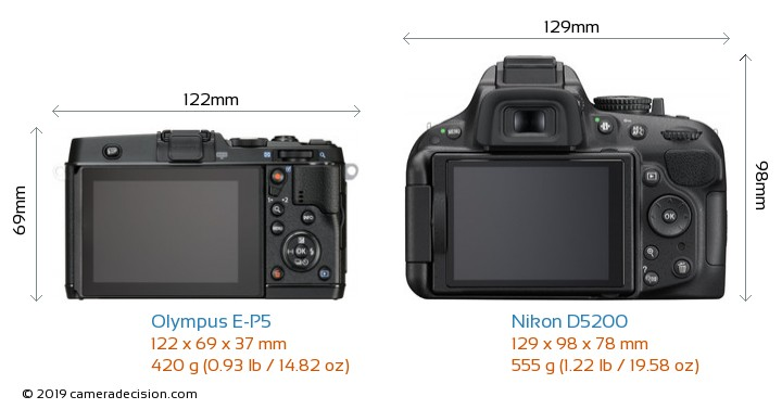 Olympus E-P5 vs Nikon D5200 Camera Size Comparison - Back View