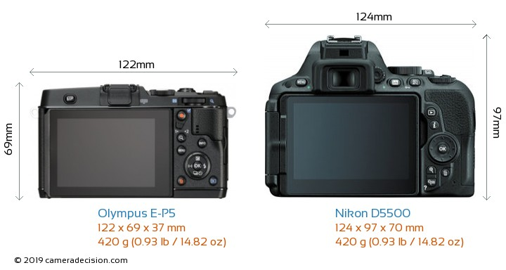Olympus E-P5 vs Nikon D5500 Camera Size Comparison - Back View
