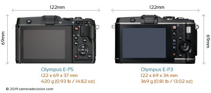 Olympus E-P5 vs Olympus E-P3 Camera Size Comparison - Back View