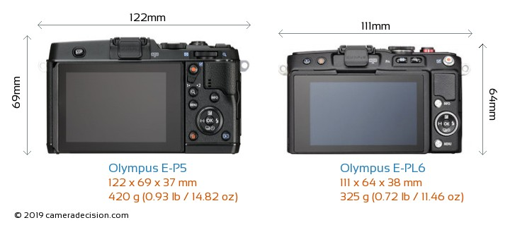 Olympus E-P5 vs Olympus E-PL6 Camera Size Comparison - Back View