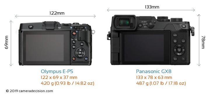 Olympus E-P5 vs Panasonic GX8 Camera Size Comparison - Back View