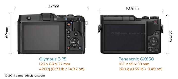 Olympus E-P5 vs Panasonic GX850 Camera Size Comparison - Back View