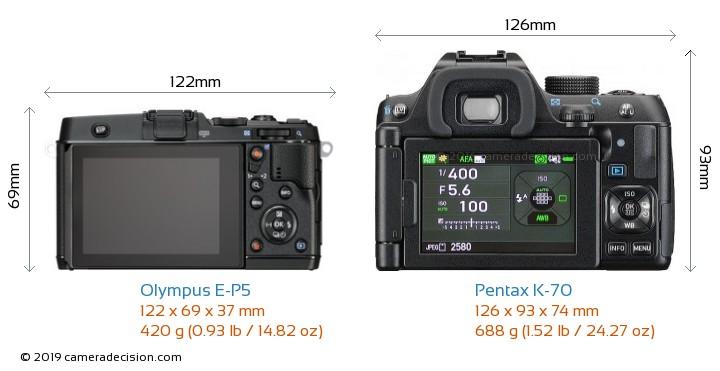 Olympus E-P5 vs Pentax K-70 Camera Size Comparison - Back View