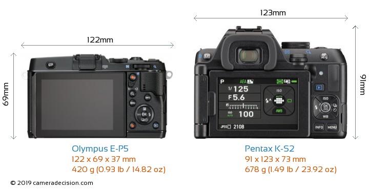 Olympus E-P5 vs Pentax K-S2 Camera Size Comparison - Back View