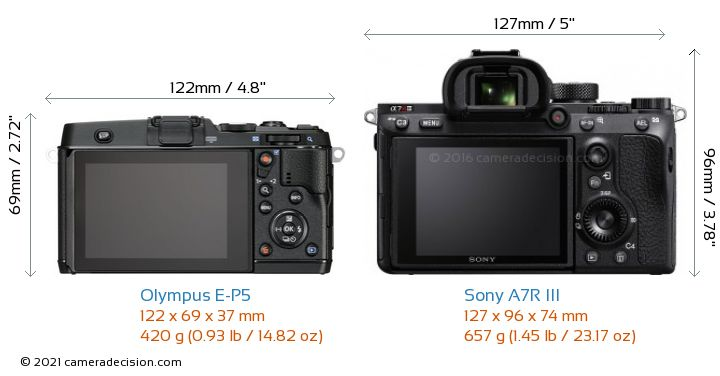 Olympus E-P5 vs Sony A7R III Camera Size Comparison - Back View