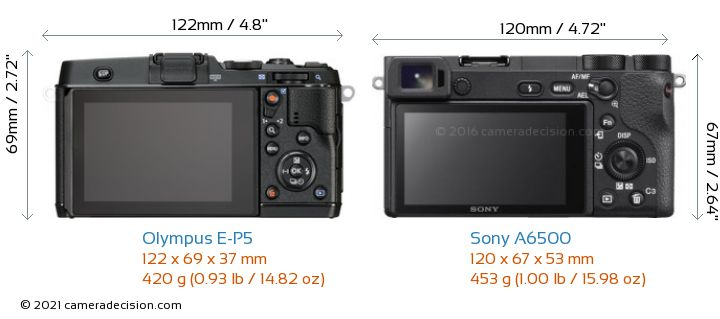 Olympus E-P5 vs Sony A6500 Camera Size Comparison - Back View