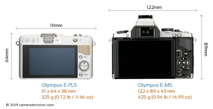 Olympus E-PL5 vs Olympus E-M5 Camera Size Comparison - Back View