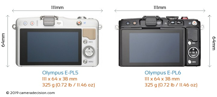 Olympus E-PL5 vs Olympus E-PL6 Camera Size Comparison - Back View