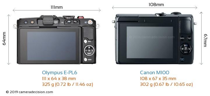 Olympus E-PL6 vs Canon M100 Camera Size Comparison - Back View