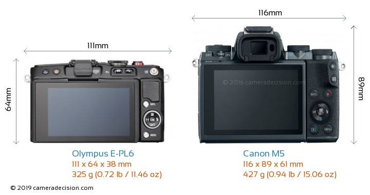 Olympus E-PL6 vs Canon M5 Camera Size Comparison - Back View