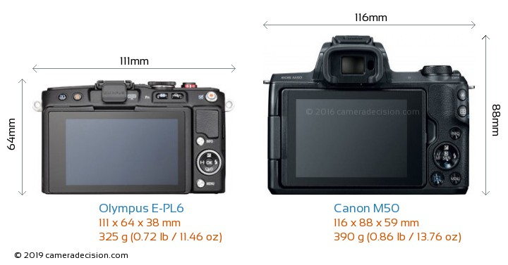 Olympus E-PL6 vs Canon M50 Camera Size Comparison - Back View