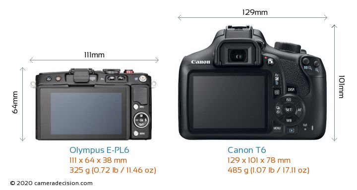 Olympus E-PL6 vs Canon T6 Camera Size Comparison - Back View